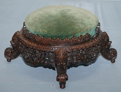 Lovely Small Hand Carved Burmese Footstool Lovely Detailing All Over Rare Find