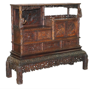 Rare Antique Hand Carved Chinese Cabinet With Monkeys Sideboard Bookcase Drawers