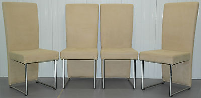 Set Of Four Rrp £3600 Suspended Seat Rolf Benz Cream Suede Leather Dining Chairs