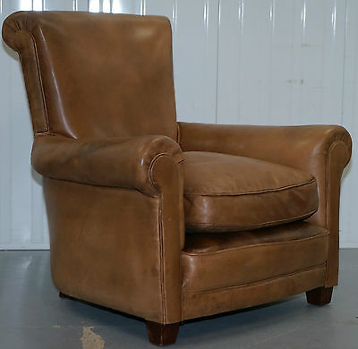 Antique Aged Tan Brown Leather Full Aniline English Gentlens Club Armchair