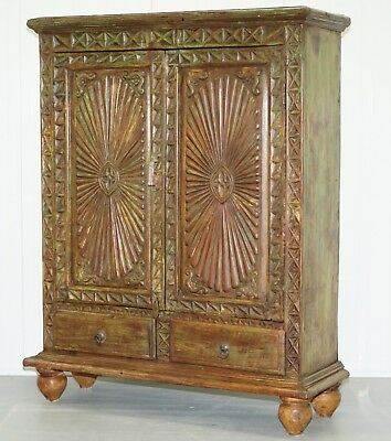 Stunning Antique Asian Hard Wood Hand Carved Distressed Finish Cabinet Bookcase