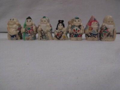 Super Vintage Chinese/japanese Miniature Painted Oriental Carved Figures X 7.