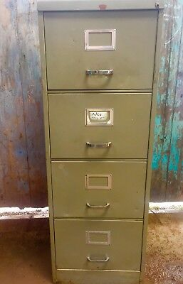 vintage Industrial Howden Office grey four 4 drawer filing cabinet