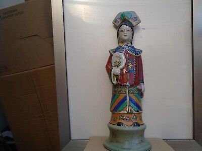 unusual vintage tall chinese ceramic figure   interesting clearance find statue