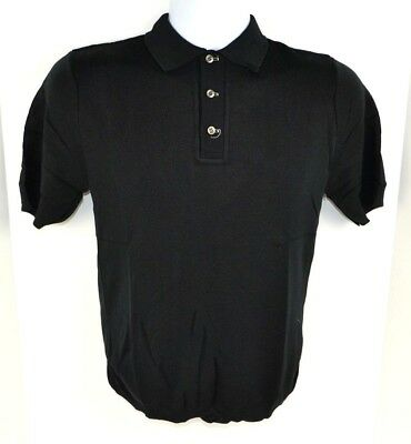 Vtg Penneys Towncraft BAN-LON Solid Color Polo Shirt, Black Small 36-38