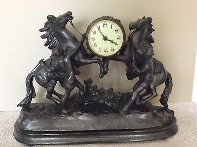 Marly / Marley Horses Mantelpiece Clock / Antique Vintage Clock With Horses.
