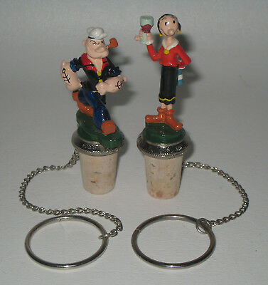 Rare Pair of 2 Popeye & Olive Oyl Cork Bottle Wine Stoppers HU10
