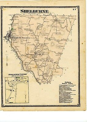1871 Beers Map of Shelburne, from Atlas of Franklin County, Mass, w/family names