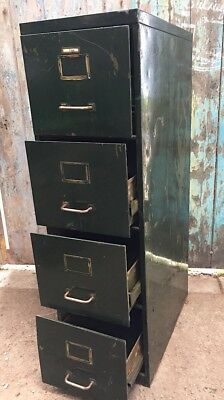 vintage Industrial 1930s Office green four 4 drawer filing cabinet brass hand...
