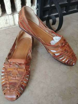 Vintage Brown Woven Leather Shoes Flats Hurache Boho Woman's SIZE 7.5 M