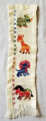 VINTAGE Handmade Homemade Cross Stitch Growth Chart Zoo Jungle Animals