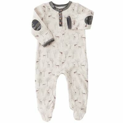NWT Mud Pie Forest Deer Print Brushed Cotton Footed Sleeper Sz. 3-6 Mos
