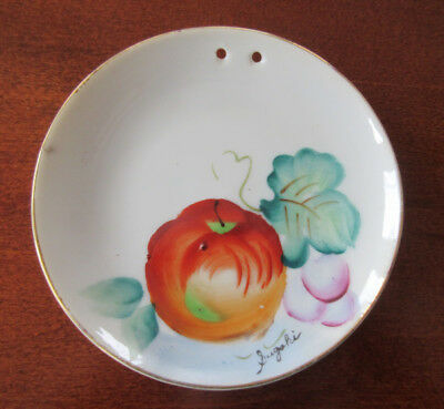 "Vintage small Hand Painted & Signed 3 7/8"" Hanging Plate Made in Japan, Fruit"