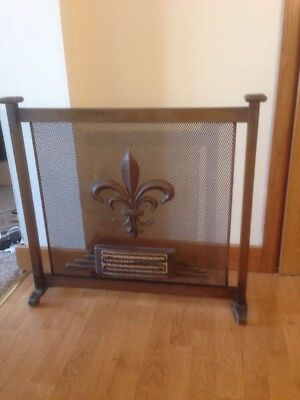 Vintage metal  fire  Guard or Screen  fleur de lys Metal fireguard
