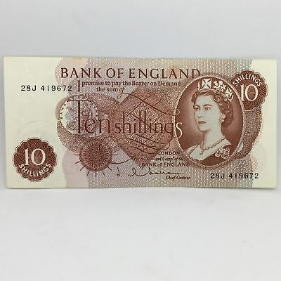 Great Britain 10 Shilling Note J Q Hollom - (1962-66) Nice Condition