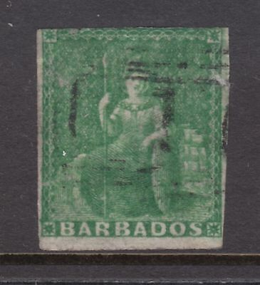 old Barbados stamps: 1858 ½d deep green Imperf Brittania