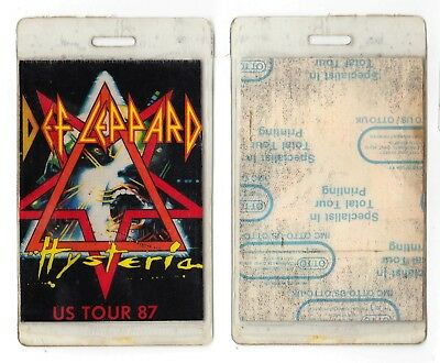 Def Leppard Backstage Pass Laminate - 1987 Hysteria US Tour