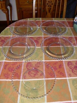 """9 Imperial Candlewick 10  3/8"""" Glass Dinner Plates"""