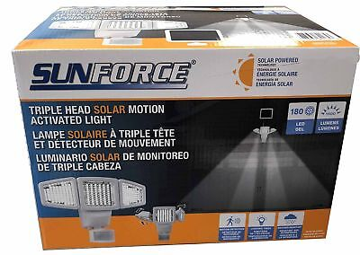 Sunforce 180 led triple head solar powered motion activated 1500 lms sunforce solar triple head motion activated security light 1500 lumens new aloadofball Image collections