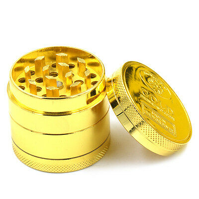 Herb Spice Grinder 4 Piece Herbal Alloy Smoke Metal Chromium Crusher Gold Colour