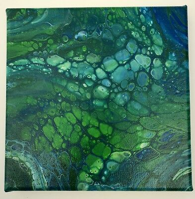 "Abstract Art 8x8"" Acrylic Fluid Flow Pour Green Blue Canvas Original Painting"