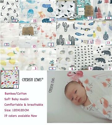 48Color Premium Quality Super Soft Bamboo/ Cotton Baby Muslin Swaddle Blanket UK