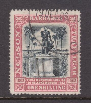 old Barbados stamps: 1906 1/- Nelson Fine Used.