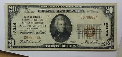 1929 $20 Small National Currency Bill from The National Bank of San Francisco