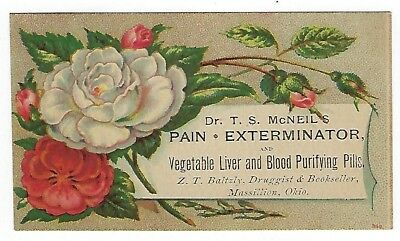 Dr. McNeil's Pain Extractor late 1800's medicine trade card #A - Massillon, OH