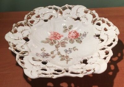 """Antique Carl Tielsch C.t. Germany Openwork Reticulated 13"""" Bowl Dish- Floral"""