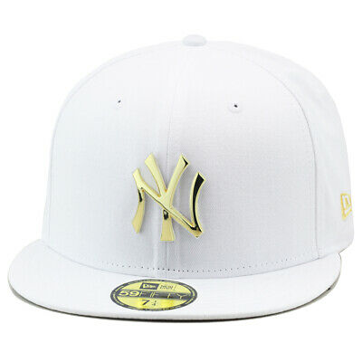 e700c7cfd19 NEW ERA 59FIFTY New York Yankees Fitted Hat WHITE GOLD Metal Badge ...