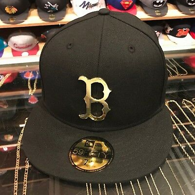 best service 345a4 49501 New Era Boston Red Sox Fitted Hat BLACK GOLD Metal Badge