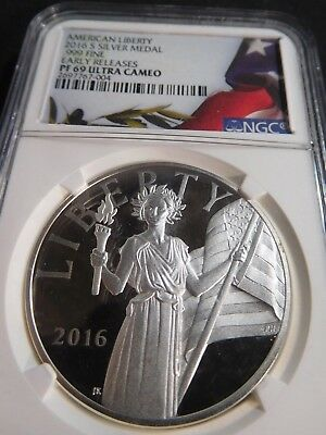 F106 USA 2016-S American Liberty Silver Medal .999 Fine NGC Proof-69 Ultra Cameo