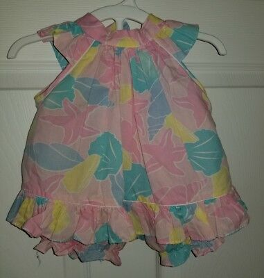Vintage handmade 1980s 18-24 months outfit pastel seashell swing top bloomers