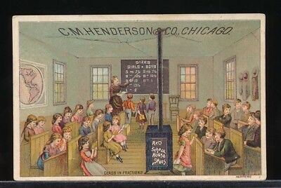 HENDERSON SCHOOL SHOES Victorian Trade Card CLASS IN FRACTIONS Red School House