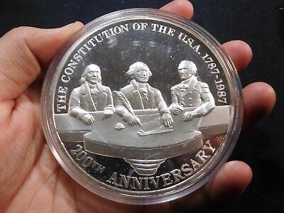 F164 Mexico 1987 Silver 12 Onza 200th Anniv. of US Constitution Proof HUGE