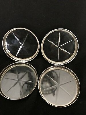 Set of 4 Vintage Sterling Silver CUT Glass Coasters Webster