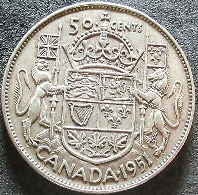 1951 Canada Silver Fifty Cent Coin