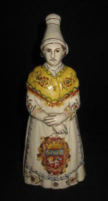 """Rouen, France Quimper Style 1970 Woman Lady Figurine Dinner Bell, 8 1/4"""""""