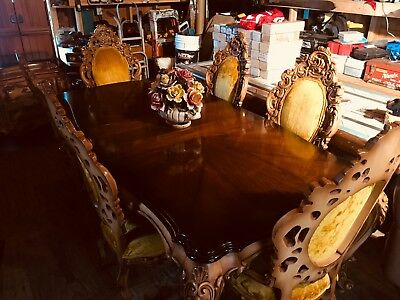 Italian 10 piece wood carved antique dining room set 1960's