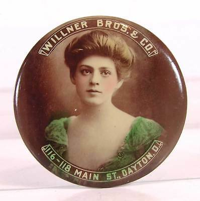 ca1905 CELLULOID ADVERTISING POCKET MIRROR WITH BEAUTIFUL YOUNG WOMAN CLOTHING