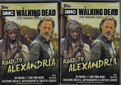 (2) 2018 Topps The Walking Dead Road To Alexandria Cards 61ct. Blaster Box LOT