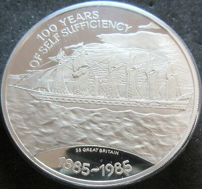 1985 Falkland Islands Proof 100Th Anniv. Sufficiency 4.4607 Oz. Silver 25 Pounds