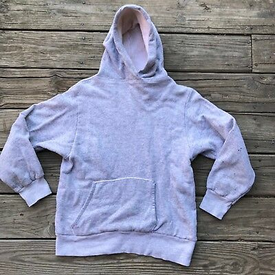VTG 50s 60s Hoodie Hooded Sweatshirt Waffle LINED Surfer Champion GRAY SZ SMALL