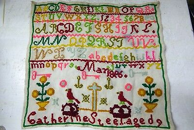 Colourful Early Sampler - Catherine Steel Age 9 - 1896 - Rare