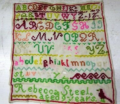 Colourful Early Sampler - Rebecca Steel Age 9 - Rare - L@@k