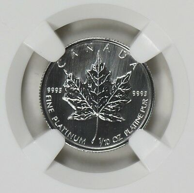 1993 Canada $5 Platinum, NGC MS69, 1/10 oz Maple Leaf, Population 11