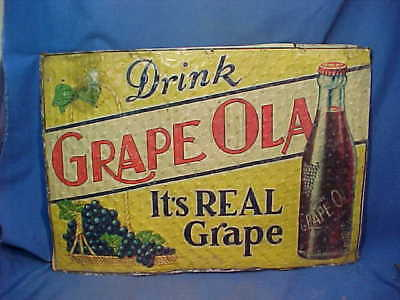 Orig 1920s DRINK GRAPE-OLA SODA Tin Litho COUNTRY STORE Advertising SIGN 27 x 19
