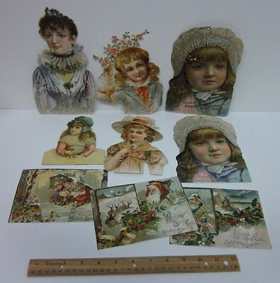 Mixed Lot (9) 1800's Large Advertising Trade Cards Die Cut Coffee etc bv5923