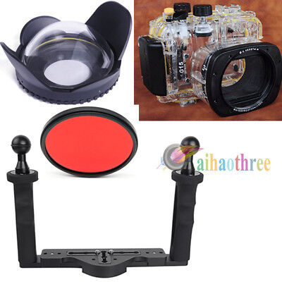 Meikon 40m/130ft Diving Case Fisheye Wide Angle Tray For Canon G15 Camera【AU】